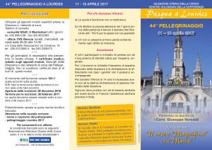 Pellegrinaggio Lourdes pieghevole 2017