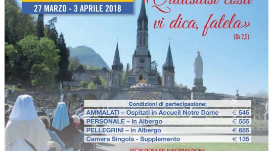 PELLEGRINAGGIO 2018 DEL CVS CON I MALATI, NELLA SETTIMANA DI PASQUA A LOURDES